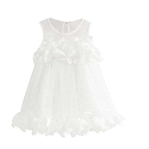 Uomogo® abito di pizzo senza maniche abito di petali di pizzo abito da principessa (età: 3-4 anni, bianca)