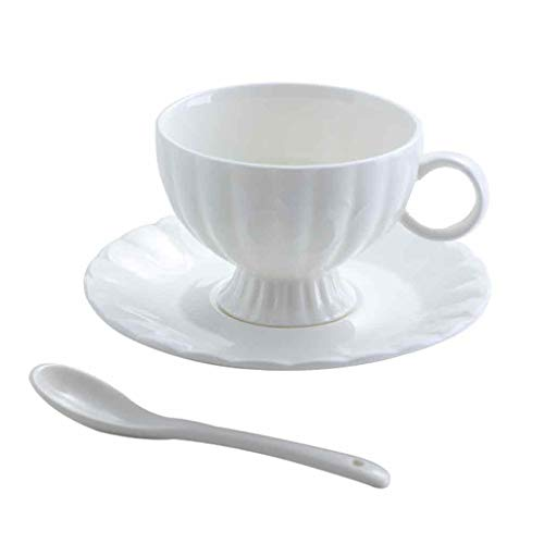 HL-Tableware Vaisselle Blanche Porcelaine Vaisselle Cappuccino CréAtive Tasses à Café avec Soucoupe Kitchen Craft