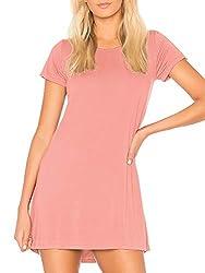 H HIAMIGOS Damen Nachthemd Nachtkleid Kurz Sommer Nachtwäsche Negligee Umstandskleid Stillnachthemd Sleepshirt aus Modal(rosa, M)