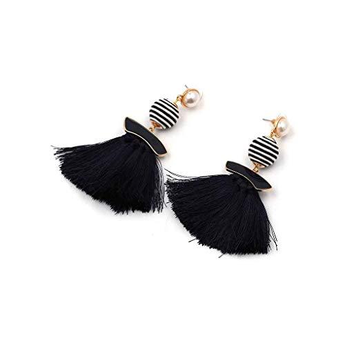 Premium Qualität 1 para Zebra Streifen Ball Drop Quaste Ohrringe Frauen Ombre Fringe Anhänger Perle Ohrstecker 8,5x3,5 cmCarry Stone Zebra Fringe