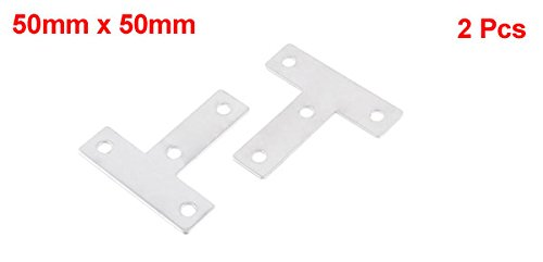 Silver Tone Stainless Steel 50mm x 50mm Angle Plate Corner Bracket 2 Pcs