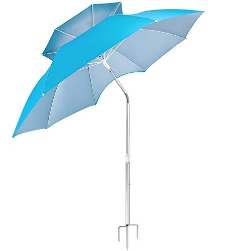 d551308870c3 FILWO, Taschenschirm Blau Blue Beach Umbrella Large