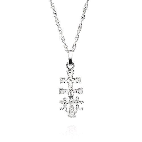 Cruz caravaca, cruz caravaca plata de ley con cadena singapur 45 cm, colgante mujer, una joya con historia