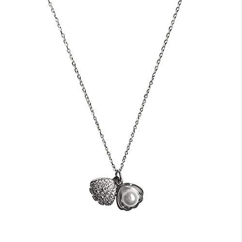 Collana di conchiglie di perle da donna, pendente di perle bianche rotonde 5mm catena di argento sterling con nappe incastonate e conchiglia accessori da donna semi-chiusi regalo da figlia fidanzata