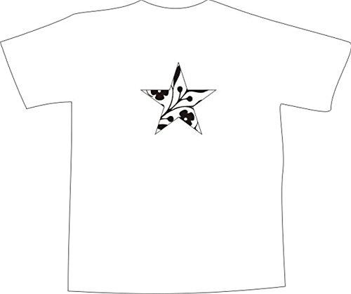 T-Shirt E1062 Schönes T-Shirt mit farbigem Brustaufdruck - Logo / Grafik - Comic Design - abstraktes Rankenornament im Stern Weiß