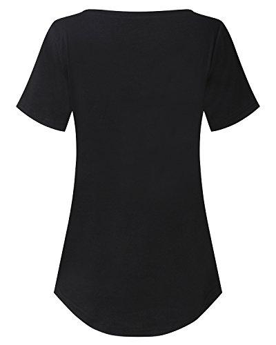 StyleDome Damen V Ausschnitt Kurzarm Lockere Einfarbig Tops T-Shirts Schwarz