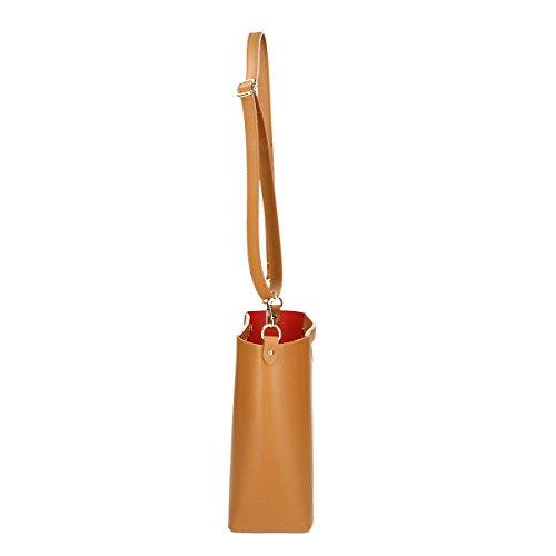 Chicca Borse echtes Leder Schultertasche 36x28x12 Cm Leder