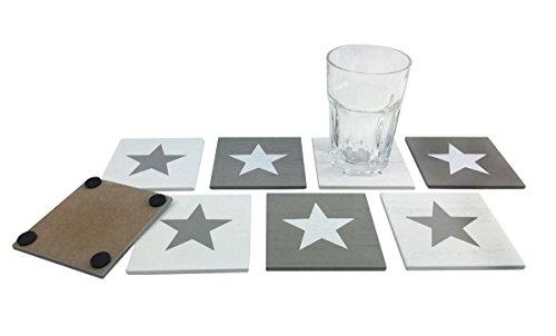 itsisa® Untersetzer Set Stars (8er Set) - schöne Glasuntersetzer - Untersetzer für Gläser