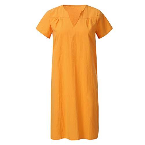 DIPOLA Damen Tops Mode Lose Beiläufige V-Ausschnitt Kurzarm Sommerkleid T-Shirt Kleid (Blau Orange Navy Pink) -