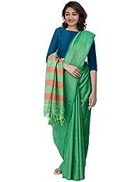 Unnati Silks Cotton Saree With Blouse Piece(Unm31686_Green_Free Size)
