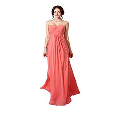 Sarahbridal Damen Chiffon Herzenform Ballkleid Brautjungfernkleider Lang Faltenrock Abendkleider SSD182 Dunkelrosa