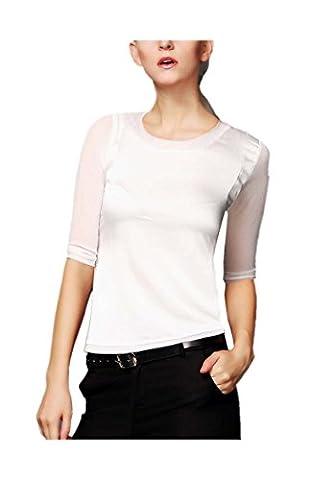ARJOSA Women's Mesh Gauze 1/2 Sleeve Round Neck Shirt Slim Fit Blouse Silky Top (L / 14 , #4 White)