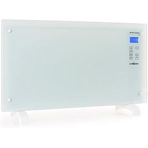 Klarstein HT007GL radiador por convección (2.000 W, 70m³, vidrio de seguridad, panel de control táctil, para pared o suelo, portátil con ruedas, varios programas) - blanco