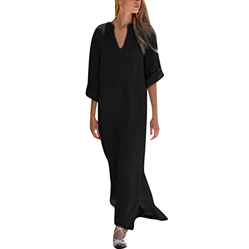 CAOQAO Damen Kaftan Baumwolle Lange Ärmel Einfaches Freizeit Übergroße Maxi Langes Hemdkleid -