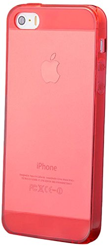 iCues Apple iPhone SE / 5S / 5 |  TPU Klar Case mit Stöpsel Türkis | [Display Schutzfolie Inklusive] Transparent Klarsichthülle Durchsichtig Klare Klarsicht Silikon Gel Schutzhülle Hülle Cover Schutz Rot