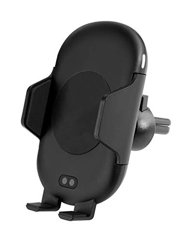 Energea WIMOUNT Sense - kabelloses schnelles Aufladen mit Lufthalterung, eingebautem Sensor + Auto-Ladegerät, automatische Erkennung für 5 W, 7,5 W, 10 W Aufladung, Schwarz