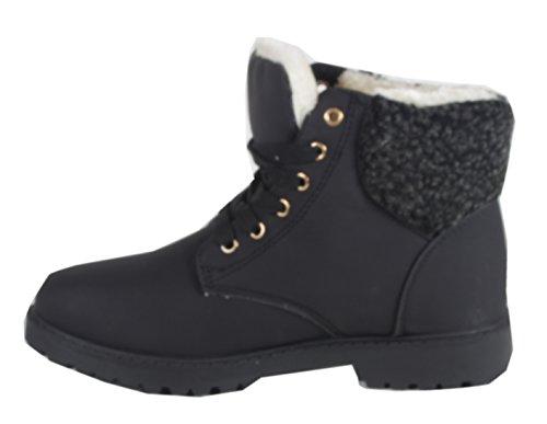 Worker viwoya classique bottes chukka pour femme-aspect cuir nubuck couleur différente du reste du jean semelle profilée Noir - B8-31 Schwarz
