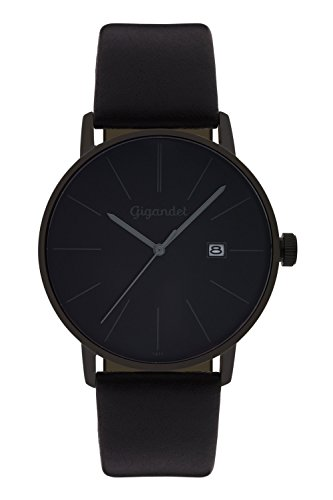 Gigandet Men's Quartz Watch Minimalism Analogue Leather Strap Black G42-004