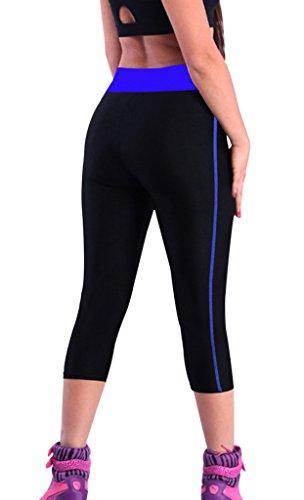 iLoveSIA Femme 3/4 Leggings de sport Noir+Bleu marine