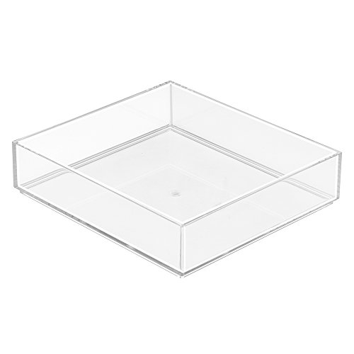 InterDesign Clarity Make-Up Organiser Tray, Square Plastic Drawer Organiser for Cosmetics and Make-Up, Clear