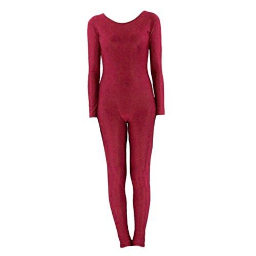 F Fityle Erwachsener Unisex Ganzkörperanzug Kostüm Ganzkörper Anzug Jumpsuit Spandex Bodysuit Zentai Suit Dancewear Catsuit - Wein L