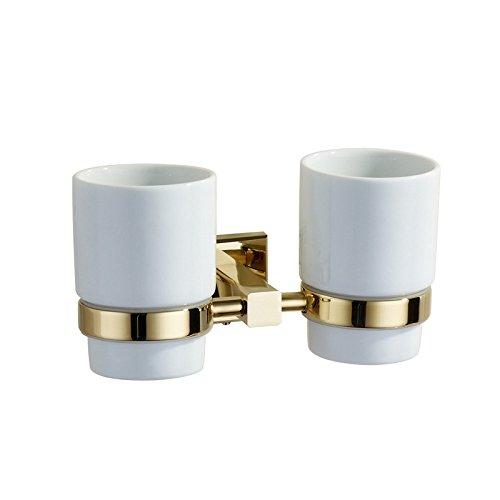ETmla Kupfer Gold Becherhalter Zahnbürste Tasse Halterung Badezimmer Wand Doppel Tasse Halterung - Traditionelle Badezimmer Halterung