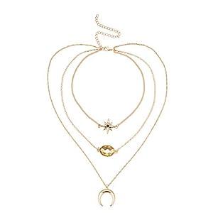 XUHAHAXL Halskette/Multielementelemente Der Retro- Nationalen Art, Verzierte Sterne, Stern, Juwel, Mehrschichtige Schlüsselbeinkette