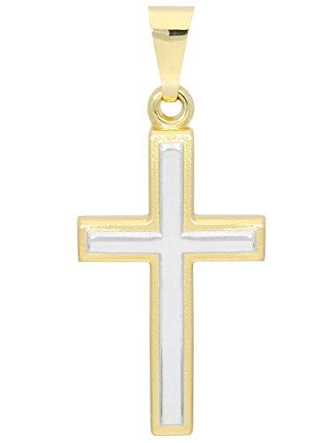 MyGold Kreuz Anhänger (Ohne Kette) Gelbgold Weißgold Weissgold 375 Gold (9 Karat) Bicolor 25mm x 12mm Matt Glanz Kommunion Goldkreuz Kettenanhänger Geschenke Weihnachtsgeschenke Luna V0001350