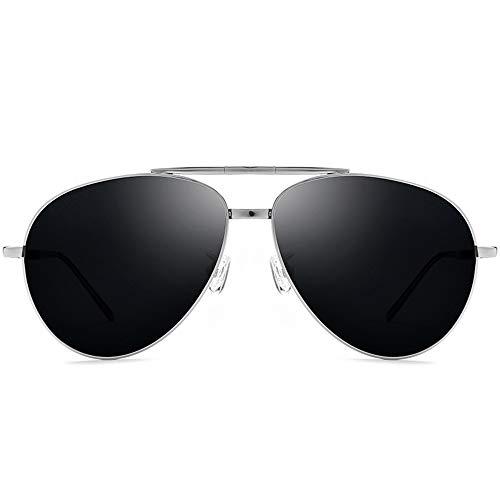 100% Titan polarisierte Sonnenbrille UV400 Herren oder Damen Faltbare Sonnenbrille Fahren Brille (Farbe : Silver Frame Gray Piece, Größe : Free)