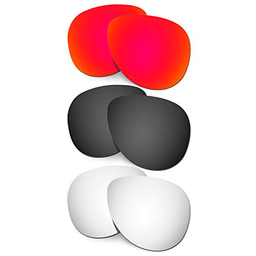 HKUCO Verstärken Ersatz-Brillengläser für Oakley Elmont (Large) Rot/Schwarz/Titan Sonnenbrille