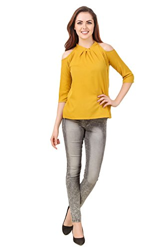 60793b9a41a42f Buy Brand me Up women Solid Color Cold Shoulder neck 3 4 sleeve tops -  (Mustered) on Amazon