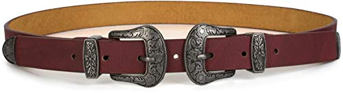 styleBREAKER Gürtel mit doppelter verzierter Schnalle im Western Style, B-Low Belt, Taillengürtel, kürzbar, Damen 03010085, Größe:80cm, Farbe:Bordeaux-Rot