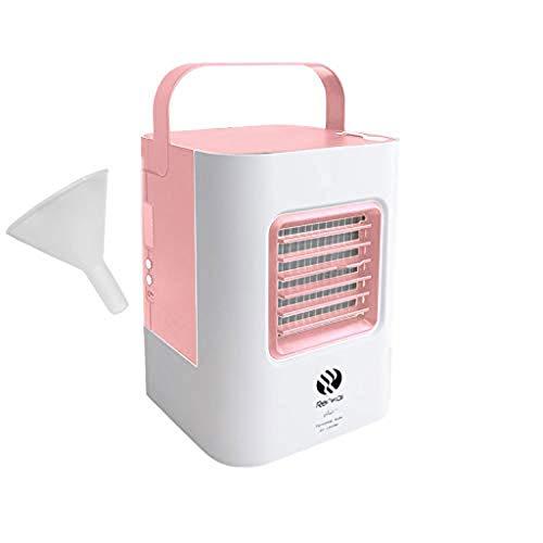 Cwemimifa Mini Klimaanlage Tragbare Mobile Klimaanlage Luftkühler Ventilator Leise Tischventilator Tragbare,USB-Ladeklimaanlagenlüfter Mini tragbarer Kühlschrank Luftkühler Nano-Lüfter,Rosa