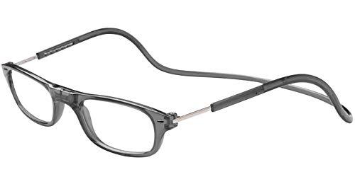 TBOC Lesebrille Lesehilfe für Herren und Damen - Dioptrien +1.50 Graue Fassung Brillen mit Stärke Faltbare Einstellbare Trend Frau Mann Senior Magnetverschluss Clip Alterssichtigkeit Presbyopie