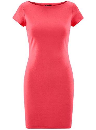 oodji Ultra Damen Jerseykleid mit U-Boot-Ausschnitt Rosa (4D00N)