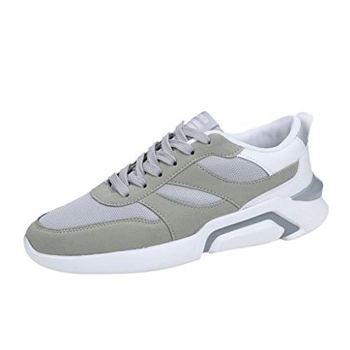 ZHANSANFM Sportschuhe Herren Laufschuhe Atmungsaktiv Straßenlaufschuhe Fitness Trekking Sneaker Air Cushion Turnschuhe Leichtgewicht Jogging Running Gr.39-44(44Grau