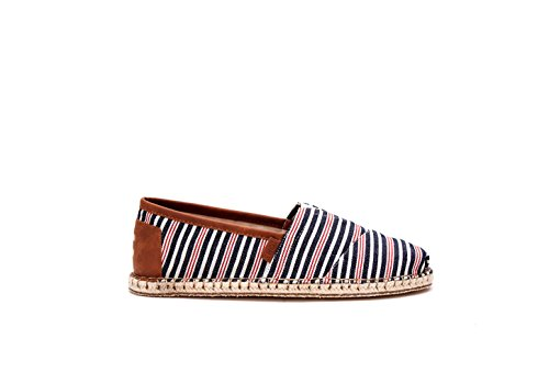 Toms Mens Alpargata Canvas Ankle-High Flat Shoe Navy/Red Stripe