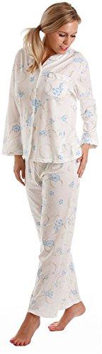 Donna Floreale Jersey misto cotone camicia da notte Camicia da notte & Pigiama - Disponibile in taglie 10-36 Blue - Long Sleeve Pjs