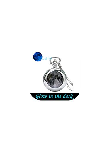 Glow in the Dark Gray Moon Glowing Taschenuhr Halskette Glowing Jewelry Jewelry Glow Glow in the Dark Watch Anhänger