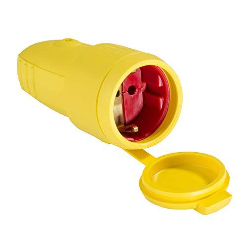 as - Schwabe Gummi-Kupplung 230 V / 16 A ohne Kabel - Schuko Kupplung mit doppeltem Schutzkontakt - Schutzkontakt-Kupplung auch für den Außenbereich geeignet - IP44  - Made in Germany - gelb I 62413