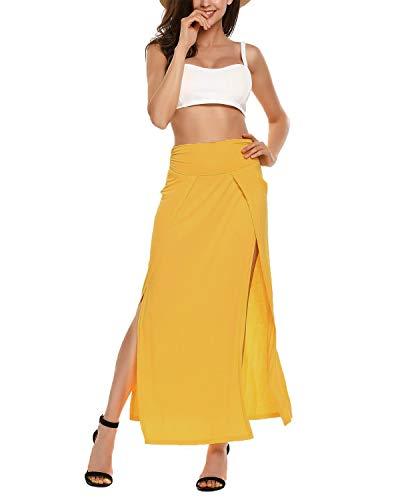 VONDA Damen Lange Rock Hohe Taille Sommerrock Slim Fit Maxirock Seiten Schlitz Kleid Gelb M (Sexy Slit Skirt)