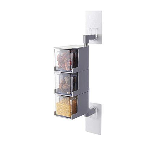 MAyouth Würzen Box, 360 Dreh Würzen Aufbewahrungsbehälter Loch Free Multi Layer Menage Spice Box