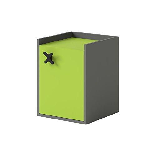 Nachtschrank Nachttisch Schreibtischcontainer IKS Kinderzimmer Jugendzimmer, Farbauswahl (GRAPHITE /...