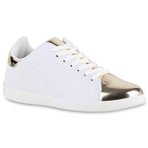Stiefelparadies , Sneakers Basses femme Blanc/doré