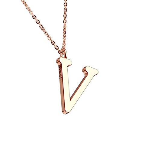 beyoutifulthings Halskette Anhänger BUCHSTABE V INITIALEN Kette Damen-Halskette Schmuck Collier Edelstahl Roségold