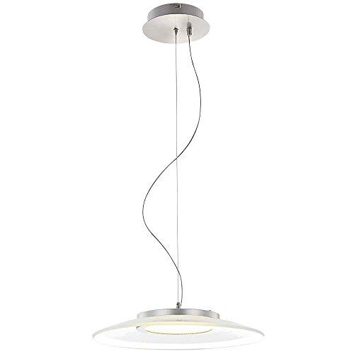 LED Decken Pendel Lampe 12 Watt Hänge Leuchte Chrom Glas opal satiniert Globo CHRISTIAN 15625