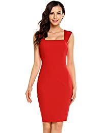 ACEVOG Women Ladies Summer Fashion Party Dress Strap Sleeveless Bodycon  Slim Backless Cocktail Party Evening Pencil 79b1e2dfc