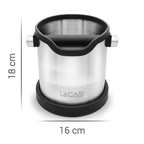 Lacari ® Premium Abschlagbehälter - Perfekt Für Espresso Kaffeemaschine - Hochwertiger Abklopfbehälter Aus Edelstahl - Kaffe Zubehör Für Siebträger - Abschlagbox Für Saubere Entsorgung Von Kaffeesatz - 5