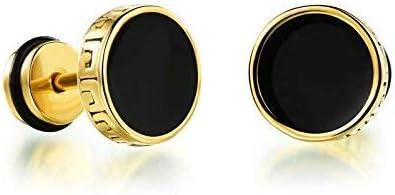 Miami Fashion Jewellery Gold Stainless Steel Black Studs Earings/Earrings For Men/Boys/Boyfriend/ - BALI-116