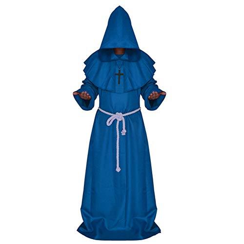 ostüm-Mittelalterliches Mönchs Kostüm, Mönchs Robe Wizarding-Kostüm, Priester-Kostüm, Christliche Kirche Haupt Kostüm,Blue,S ()